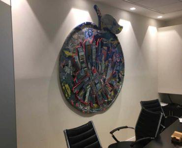 קיר מעוצב במשרד במגדל אדגר 360 תל אביב