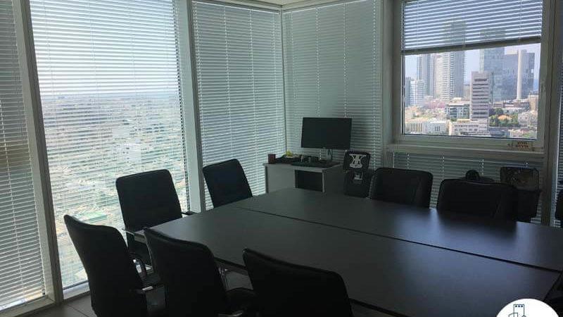 חדר ישיבות פינתי במשרד במגדל אלקטרה סיטי תל אביב