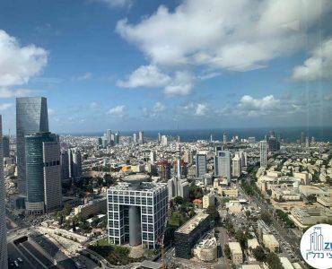 נוף לים מחלון של משרד להשכרה במגדל מידטאון תל אביב