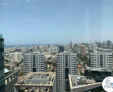 נוף לים מחלון של קליניקה להשכרה במגדלי הארבעה תל אביב