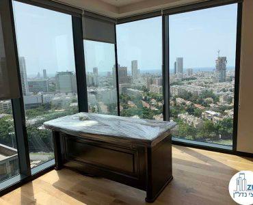 חדר פינתי של משרד להשכרה במגדל רסיטל תל אביב
