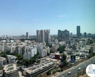 נוף מזרחי מחלון של משרד להשכרה במגדל רסיטל תל אביב