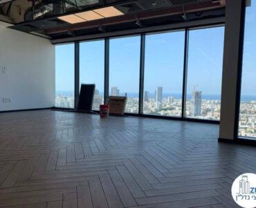חלון של משרד להשכרה ברסיטל עם נוף לים בתל אביב
