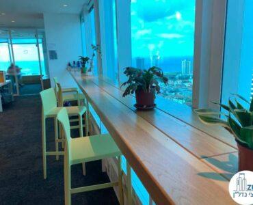 פינת קפה של משרד להשכרה במגדל דיסקונט תל אביב