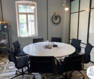 שולחן ישיבות עגול של משרד להשכרה בטמפלרים בשרונה תל אביב