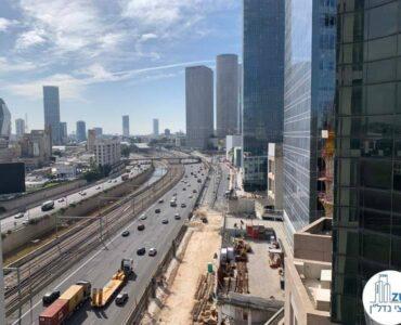 נוף לאיילון ממרפסת של משרד להשכרה מגדל רסיטל תל אביב