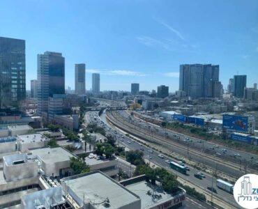 נוף מחלון של משרד להשכרה במגדלי אלון תל אביב